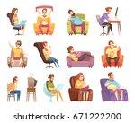 sedentary lifestyle set of... | Shutterstock .eps vector #671222200
