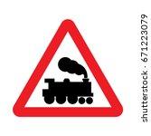 uk railway level crossing... | Shutterstock .eps vector #671223079