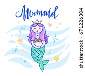mermaid hand drawn illustration.... | Shutterstock .eps vector #671226304