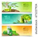 three horizontal realistic... | Shutterstock .eps vector #671227924