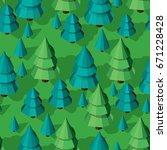 seamless isometric trees... | Shutterstock .eps vector #671228428