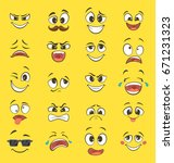 cartoon emotions with funny... | Shutterstock .eps vector #671231323