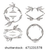 frames set of feathers arrows... | Shutterstock .eps vector #671231578