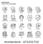 hair salon  square icon set.... | Shutterstock .eps vector #671231710