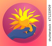 hand holding sun icon. save... | Shutterstock .eps vector #671233909