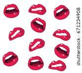 lips seamless pattern on white... | Shutterstock .eps vector #671234908