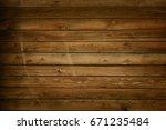 brown barn wooden wall planking ...   Shutterstock . vector #671235484