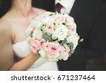 happy wedding couple bride and... | Shutterstock . vector #671237464