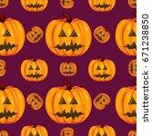 pumpkin vector seamless pattern.... | Shutterstock .eps vector #671238850