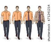 vector set of sketch men models.... | Shutterstock .eps vector #671241214
