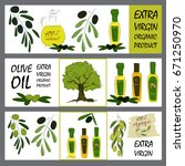 olive oil labels collection.... | Shutterstock .eps vector #671250970