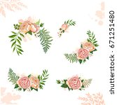 floral collection rose | Shutterstock .eps vector #671251480