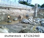 deep excavation for high rise... | Shutterstock . vector #671262460