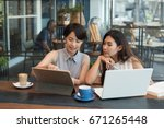 two asian business girl working ... | Shutterstock . vector #671265448