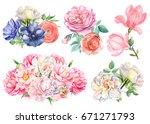 watercolor flower bouquet set ... | Shutterstock . vector #671271793