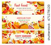 fast food banners set with... | Shutterstock .eps vector #671278120