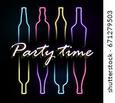 party vector poster with bright ... | Shutterstock .eps vector #671279503