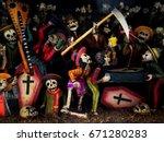 handmade skeleton objects | Shutterstock . vector #671280283
