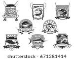 fishing club or fishery trip...   Shutterstock .eps vector #671281414