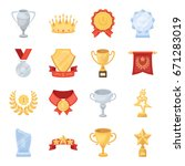 cup  medal  pennant  and other... | Shutterstock .eps vector #671283019