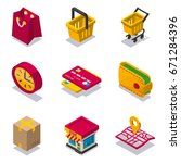 set of isometric shopping icons | Shutterstock .eps vector #671284396