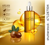 argan oil natural organics... | Shutterstock .eps vector #671287504