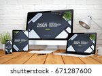 3d rendering with multidevices... | Shutterstock . vector #671287600