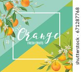 tropical orange fruits and... | Shutterstock .eps vector #671287768