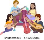 illustration featuring a group... | Shutterstock .eps vector #671289088