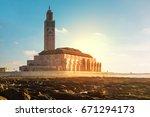 view of hassan ii mosque  ... | Shutterstock . vector #671294173