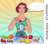 pop art young woman making... | Shutterstock .eps vector #671295904
