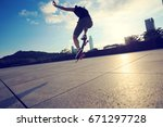 young woman skateboarder... | Shutterstock . vector #671297728