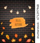 hello autumn brush stroke.... | Shutterstock .eps vector #671297968