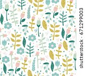 hand drawn floral pattern.  | Shutterstock .eps vector #671299003