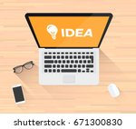 idea icon laptop illustration | Shutterstock .eps vector #671300830