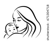mother with her baby. stylized... | Shutterstock .eps vector #671304718