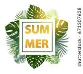 green summer tropical...   Shutterstock .eps vector #671307628
