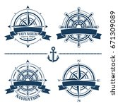 set of vintage nautical design... | Shutterstock .eps vector #671309089