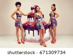 attractive womans posing near... | Shutterstock . vector #671309734