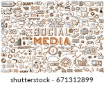 hand drawn social media objects ... | Shutterstock .eps vector #671312899