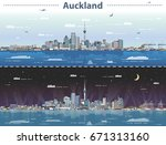 vector illustration of auckland ... | Shutterstock .eps vector #671313160