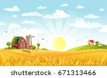 rural scene with the farm ... | Shutterstock .eps vector #671313466