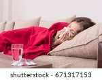 sick woman covered with a... | Shutterstock . vector #671317153