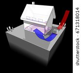Stock photo  d illustration of diagram of a detached house with floor heating on the ground floor and 671318014