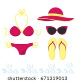 female outfit for a holiday at... | Shutterstock .eps vector #671319013