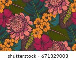 vector seamless pattern with... | Shutterstock .eps vector #671329003