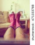 man in colorful socks  relaxing ...   Shutterstock . vector #671333788