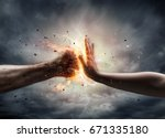 woman hand stops a fist of a... | Shutterstock . vector #671335180