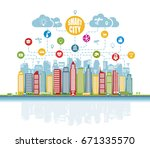 smart city with advanced... | Shutterstock .eps vector #671335570