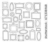 hand drawn frames set. vector... | Shutterstock .eps vector #671338468